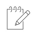 notebook with pencil icon vector image vector image