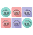 outlined icon of shopping basket with parallel vector image vector image