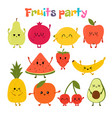 party with dancing fruits cute hand drawn kawaii vector image vector image