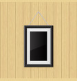 picture frame hanging on the wooden wall vector image