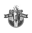 rocket flying to stars vector image vector image