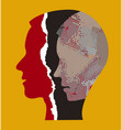 schizophrenia male head silhouettes vector image vector image