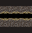 seamless border with leopard skin vector image vector image