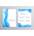 set blue wavy abstract covers brochures vector image