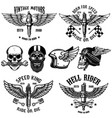 set of biker emblems with winged spark plugs vector image vector image