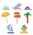 set of flat style summer vacation elements icons vector image vector image