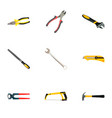 set of tools realistic symbols with hacksaw vector image vector image