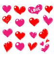 set red hearts icons vector image