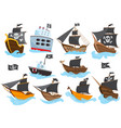 set various types stylized cartoon pirate ships vector image