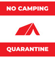 sign no camping tourist tent icon forbidden vector image vector image