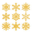 sparkling golden snowflake set with glitter vector image vector image