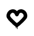 sprayed graffiti heart in black on white vector image