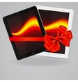 tablet computers icons and red ribbon vector image vector image