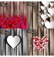 Valentines day Abstract cards with paper hearts vector image