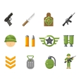 War game flat icons or army and weapon signs vector image