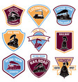set of emblems with vintage train retro rail road vector image
