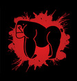 angry gorilla standing side view graphic vector image vector image