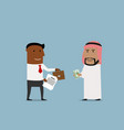 Arabian and american businessmen signing contract vector image