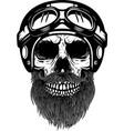 bearded skull in racer helmet design element for vector image