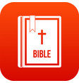 bible icon digital red vector image vector image