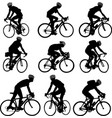 bicyclists silhouette vector image