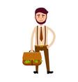 bisnessman with bag full of money vector image