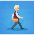 boy pupil walking to school schoolboy small vector image