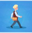 boy pupil walking to school schoolboy small vector image vector image