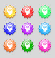 Brain icon sign symbol on nine wavy colourful vector image