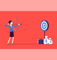 businesswoman arching in profit target vector image