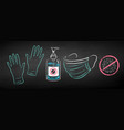 chalk drawn protection items vector image