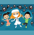 cheerful doctor with a syringe and children vector image