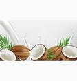 coconut in milk splash realistic template vector image vector image