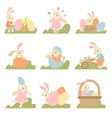 collection cute bunnies with colorful eggs vector image vector image