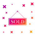 color sold icon isolated on white background sold vector image vector image