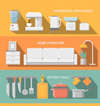 Cooking tools and kitchenware equipment serve vector image vector image