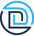 d letter circle line logo icon design vector image