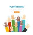 different hands volunteering concept banner flat vector image