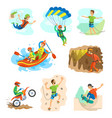 extreme sports bungee jumping and rafting in boat vector image vector image