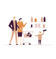 family shopping - flat design style colorful vector image vector image