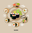 flat sushi composition vector image vector image