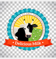 fresh milk logo with cow vector image