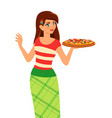 Girl holding plate with tasty pizza vector image vector image