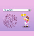 girl playing with toy and education search engine vector image vector image