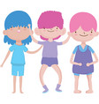 group little boys together cartoon character vector image