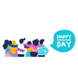 Happy friendship day banner of big friend group