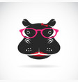hippo wearing glasses on white background animal vector image vector image