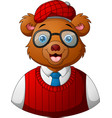 hipster bear dressed and glasses vector image vector image