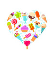 Ice cream in heart shape vector image vector image
