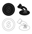 isolated object of bank and money logo set of vector image vector image